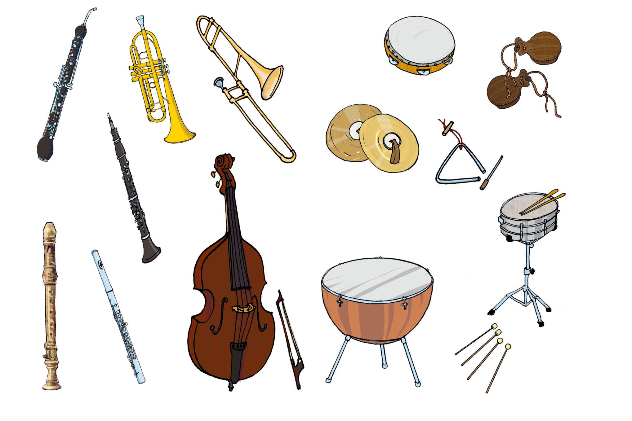 ulrikebahl-illustration-Liederbuch-Instrumente-Orchester