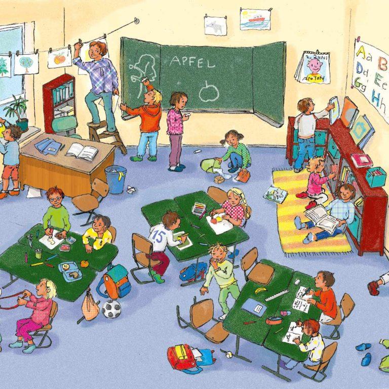 ulrikebahl-illustration-wimmelbild-klassenzimmer