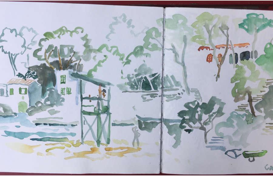 ulrikebahl-illustration-Skizzenbuch-Mallorca-Bucht