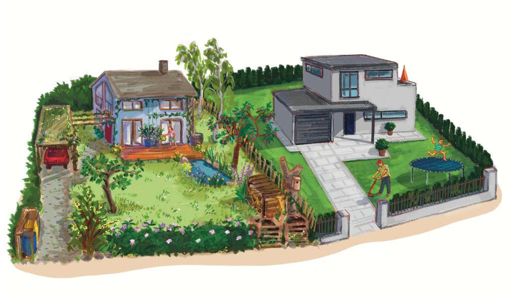 ulrikebahl-illustration-bienenfreundlich_Garten_Privathaus